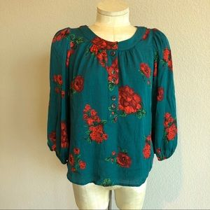 Anthro Maeve blue/green with pink/red floral top